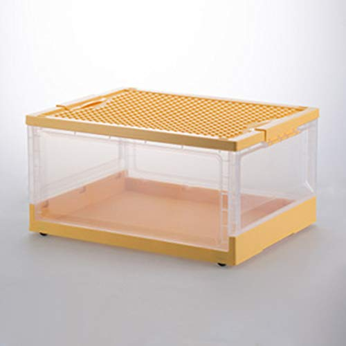 MTYQE Cajas organizadoras para Guardar Juguetes – Juguetero apilable con Tapa para habitación Infantil – Organizador de plástico Robusto para Pinturas, Manualidades, etc. – Transparente,Amarillo