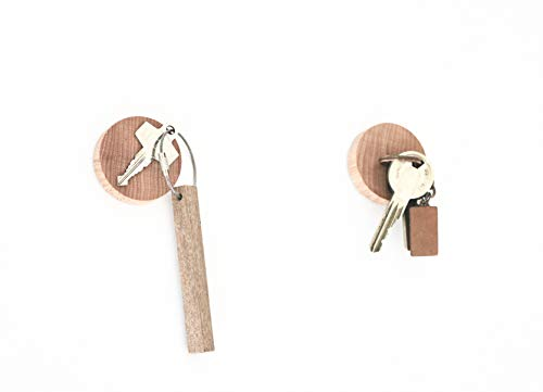 anaan Cimukou Magnete Schlüsselhalter Holz Wand Schlüssel Schlüsselhaken Organizer Schlüsselbrett Kühlschrank Magnete Klammerhalter Design (Buchenholz 2er Set)