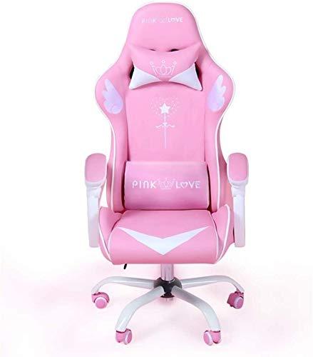 LJJSMG Racing estilo de juego for sillas de rosa de la muchacha Esports chica silla del asiento de silla de la computadora Can Sleep...