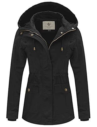 WenVen Women's Spring Cotton Military Coat Anorak Hooded Jacket(Black, XL)