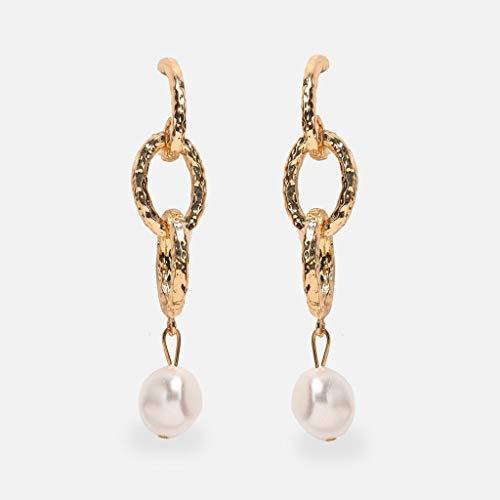 Creative retro minimalistische grote stijl beige marine waterdruppel schelp stuk oorbellen