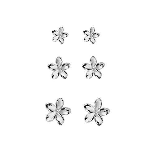 3 Pairs Tiny Flower Stud Earrings Sterling Silver Set for Women Girls Cute Cartilage 20g Studs Tragus Post Pin Hypoallergenic Piercing Body Jewelry Christmas Valentine's Day Birthday Gifts