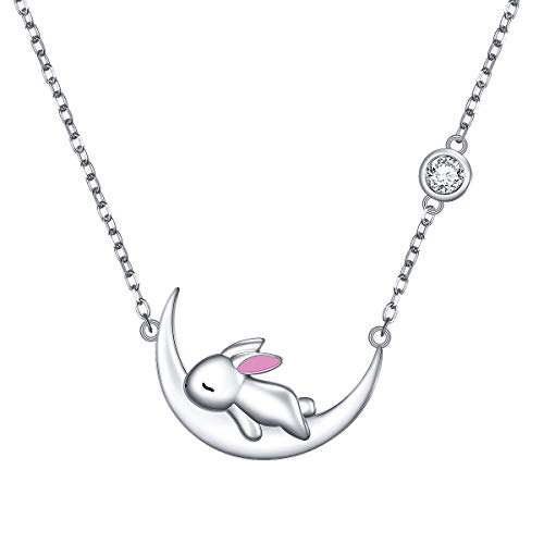 DAOCHONG Cute Rabbit Necklace 925 Sterling Silver Bunny on Moon Pendant Necklace Animal Jewelry for Women Teen Girls Birthday