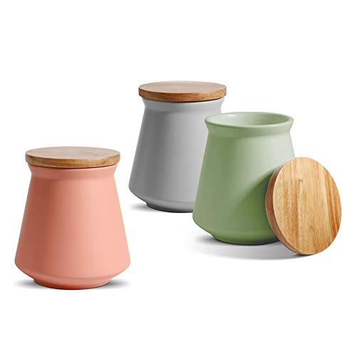 ComSaf Ceramic Food Storage Canister with Airtight Wood Lid (27oz/800ml), Food Storage Jar Container with Seal Bamboo Lid for Kitchen Pantry Serving Tea, Coffee, Sugar and Spices, Set of 3