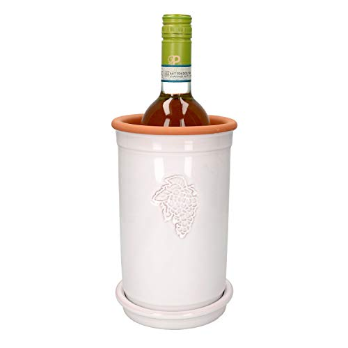 MamboCat Ton Weinkühler + Ton Untersetzer weiß lasiert rund I Deko Sektkühler ohne Eis I In- und Outdoor Flaschenkühler Bier und Wein I Tischkühler Getränke I Weinflaschenkühler Ø 12,5 cm