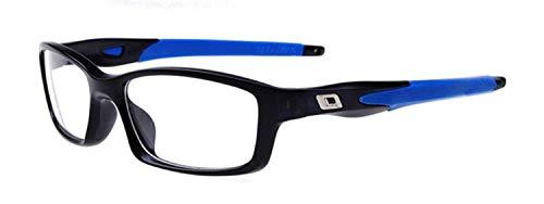 Gafas de lectura clásicas para hombres Gafas deportivas de estilo deportivo con vista prebiótica Gafas de lectura de plástico +50 a +100 +600 (receta para ojos, 125, color del marco, azul), azul, 75