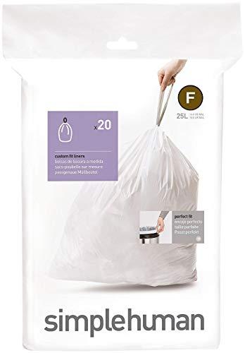 simplehuman, sacchetti su misura codice F, bianchi, confezione da 20