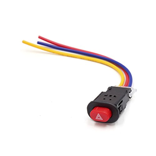 sourcing map 3 con Conexión de Cable Rojo Accesorio de Motocicleta Scooter de Pulsador Doble Flash Interruptor de Advertencia 12V 24V