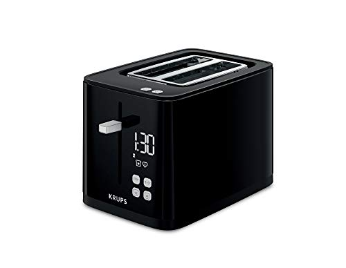 Krups KH6418 Smart\'n Light Toaster | Zwei-Scheiben-Toaster | Digitaldisplay | 7 Bräunungsstufen | herausnehmbare Krümelschublade | Countdown | Anhebevorrichtung | Schwarz