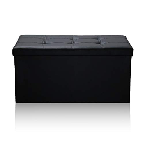 Storage Bench Stool Stool Seat Chest Foldable Storage Box Footrest Square Storage Folding Footstool Stool seat Bench (Color : Black)