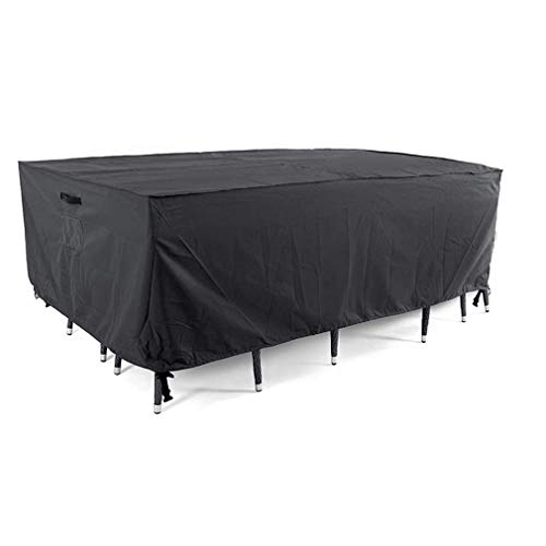 TYAWY Garden Furniture Cover, Rectangular Patio Table Cover Oxford Fabric Outdoor Patio Furniture Cover for Garden Table and Chairs Set (Black)