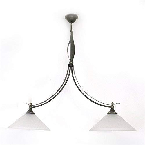 LUX de lámpara colgante de techo Zusa rústico rústico Luster óxido marrón 2focos Cristal Blanco Envejecido