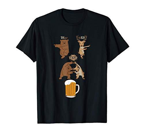 Bär Hirsch Reh Bier Alkohol Trinken Beer Tiere Geschenk T-Shirt
