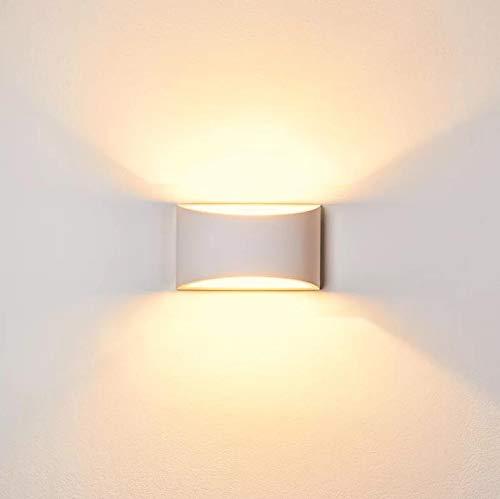 Luces de pared LED de aplique de pared de yeso Iluminación de pared decorativa hacia arriba interior con 7W Luz G9 tipo de lámpara de noche para salón del salón dormitorio (blanco cálido)