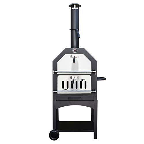KCT Outdoor Wood Fired Pizza Oven with Stone, Temperature Gauge, Storage Shelf and BBQ Tool Set