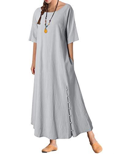 KIDSFORM Vestido largo de lino de algodón de manga corta para mujer con botones y bolsillos Medio A-gris