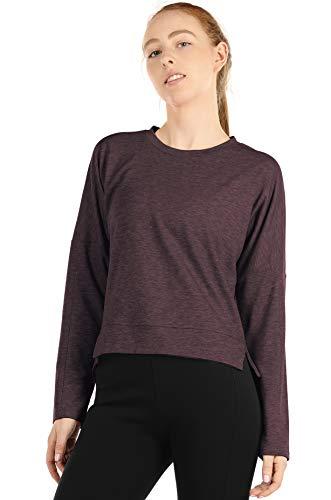 icyzone sudadera de entrenamiento para mujer – Suéter de manga larga para correr - Rojo - Small