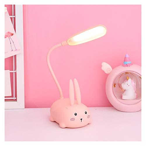 JSJJAWD Lámpara de Mesa Lámpara Equilibrio niños lámpara de Escritorio de la Tabla del LED lámpara de cabecera Flexo Cuello de Cisne for Estudio Badroom Decoración (Body Color : Rabbit Pink)