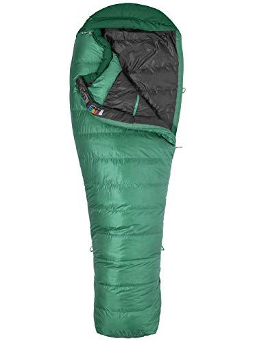Marmot Palisade Long, Mummia, Extra Lungo, Imbottitura in Piuma D'Anatra 650, Sacco a Pelo Molto Leggero e Caldo Unisex-Adult, Sage Green/Deep Forest, RZ