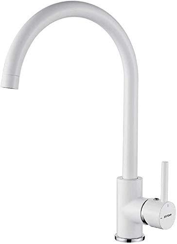 GRIFEMA GRIFERÍA DE COCINA-G4001W | Küchenarmatur - Wasserhahn Küche mit Hoher Auslauf(246mm), Weiß | Einhand-Spültischbatterie, G3/8'' Anschlüsse, Hochdruck, 360° Schwenkbar