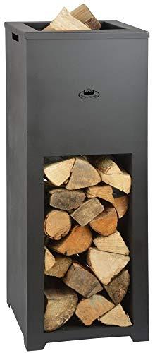 Esschert Design Feuerschale mit Holzlager aus Stahl, Maße 39 x 39 x 100 cm