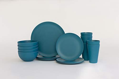 Vajilla de bambú – Platos de bambú reutilizables, cuencos y tazas – 24 piezas de platos y cuencos de madera para 6 personas – Apto para lavavajillas y vajilla biodegradable – Azul cobalto