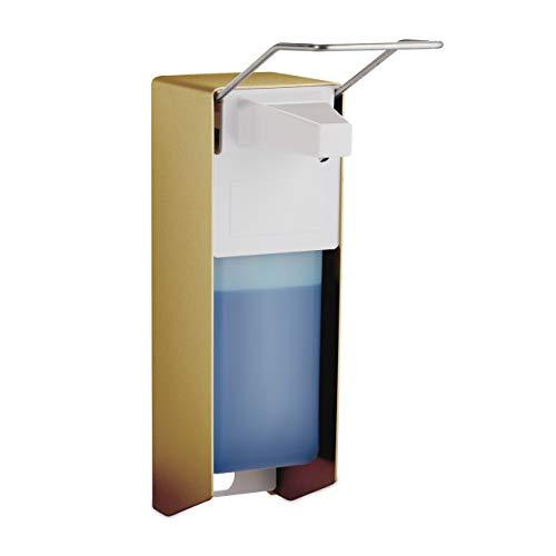 Relaxdays Eurospender, 1000 ml, Desinfektionsmittel, Seife, Ellenbogen-Hebel, Wandbefestigung, Hygienespender, Gold, 1 Stück