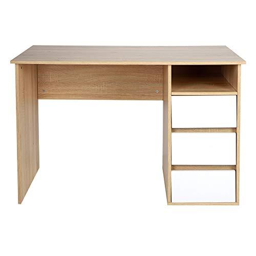 YAOTAOsm Mesa de escritorio de densidad con 3 cajones de almacenamiento para el hogar, oficina, sala de estudio