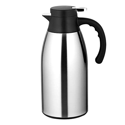 Velaze Edelstahl Thermoskanne, 304 Isolierkanne mit 12 Stunden Wärmespeicherung – doppelwandige Vakuum Tee und Kaffee Isolationstopf – 2.1L