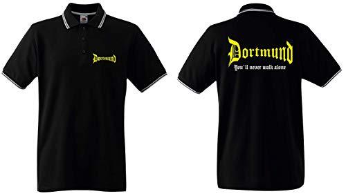 world-of-shirt / Dortmund Herren Polo-Retro You`ll Never Walk Alone