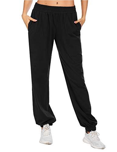 Balancora Damen Sporthose Jogginghose Schwarz Loose Fit Modern Trainingshose mit Taschen Sweathose Lang für Outdoor Schwarz XXL