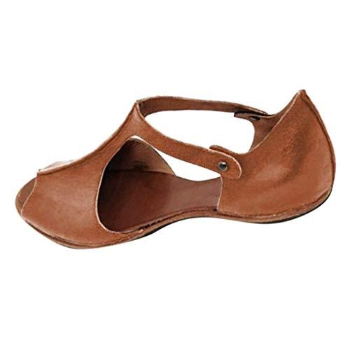 Damen Sandalen Bequeme T-Riemen Flache Beach Strandsandale Fischmaul Peeptoe Sommer Sandals Freizeitschuhe(1-Braun/Brown,40)