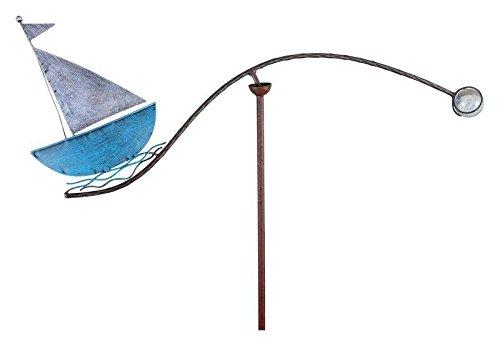 Windspiel für den Garten - Motiv: Segelboot - Länge 59cm - Hochwertiger Gartenstecker