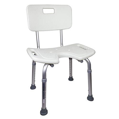 Mobiclinic Duschstuhl mit Rückenlehne und U-Form Sitz, Höhenverstellbar, Modell Marisma