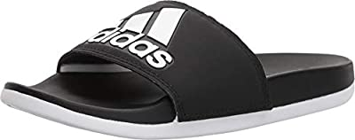 adidas Women's Adilette Comfort Slide Sandal, White/Black, 9 M US, black/white/black