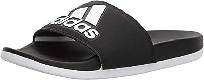 adidas Women's Adilette Comfort Slide Sandal, Black/White/Black, 6 M US
