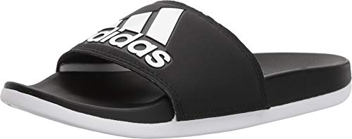 adidas Women's Adilette Cloudfoam+ Slide Sandal, White/Black, 7 M US