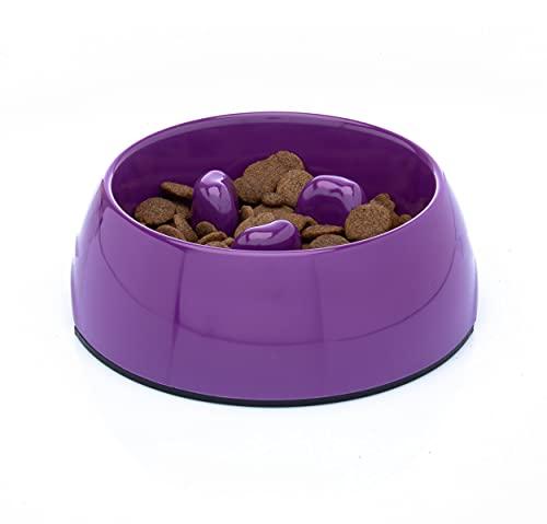 DDOXX Comedero Antivoracidad Perro, Antideslizante | Muchos Colores y Tamaños | para Perros Pequeño, Mediano y Grande | Bol Accesorios Melamina Gato Cachorro | Violeta, 300 ml