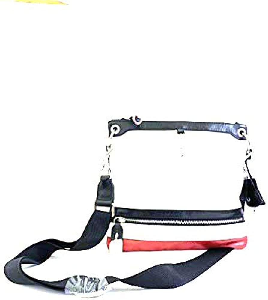 Dolce & gabbana, borsello a spalla d&g per uomo, in pelle bianca con profili neri e rossi