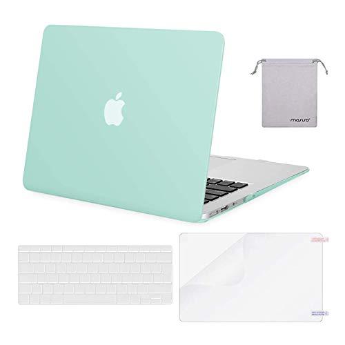MOSISO Funda Dura Compatible con MacBook Air 13 (A1369/A1466, Versión 2010-2017), Plástico Carcasa Rígida & Cubierta de Teclado & Protector de Pantalla & Bolsa de Accesorios, Menta Verde