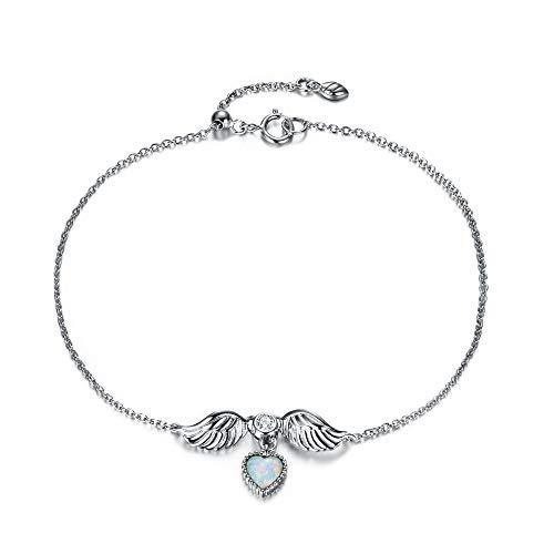 EVER FAITH Pulsera de plata de ley 925 con colgante de ópalo, diseño de alas de ángel, para mujer y niña
