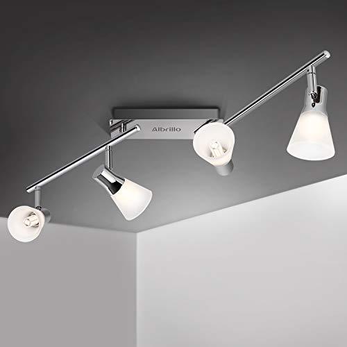 Albrillo LED Deckenleuchte Schwenkbar - LED Strahler Deckenlampe mit G9 Fassung, Modern Deckenstrahler Spots mit 4 Flammig, Metall Silber, für Wohnzimmer, Küche und Schlafzimmer, IP20