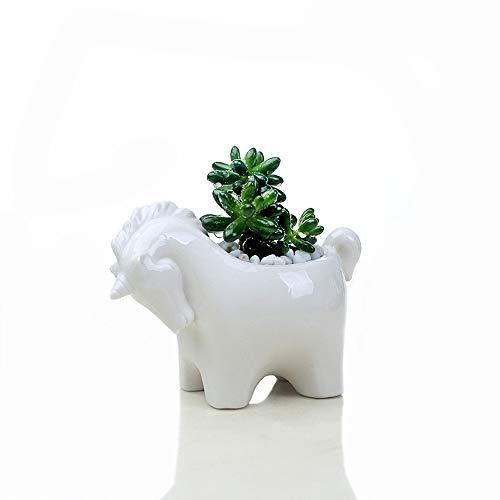 MoYek Blanco lindo del unicornio mini cerámica Tiesto Cactus escritorio Bonsai Holder Animales...