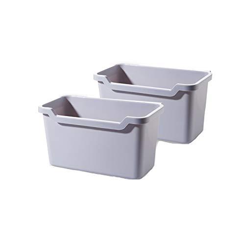 XVXFZEG 2 piezas de 6L hogar montadas en la pared Botes de basura, cocina-específicos botes de basura de plástico cuadrados, la puerta del gabinete de almacenamiento papeleras cubos de basura cubierto