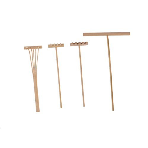 EXCEART 4PCS Mini Zen Garden Rake Tool Set Bamboo Zen Sand Sand Smoothing Push Rake Garden Bonsai Potted Ornament For Home Dollhouse Feng Shui Decoration