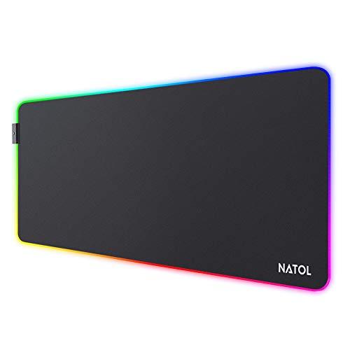NATOL RGB Tapis de Souris Gaming, Grand Tapis de Souris XL avec 12 Effets D'éclairage, Base en Caoutchouc Antidérapante, Surface Lisse, pour Claviers et Souris, PC et Portables, 800 x 300 mm
