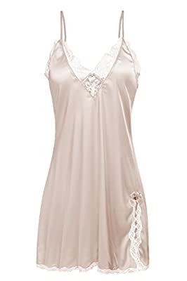Ekouaer Sleepwear Women's Sexy Lingerie Satin Nightdress Lace Chemise Nightgown Silk Slips Loungewear XS-XXL (L, Beige) from
