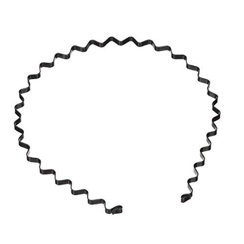 Hotaden Unisex Ondulada del aro del Pelo Simple Deportes Metal Diadema Cabello Ondulado el Organizador Negro