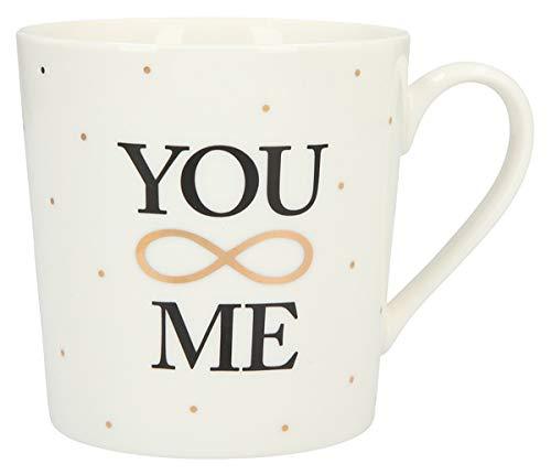 Depesche 5909.006 Tasse mit Henkel, aus Porzellan, 300 ml, mit Aufschrift, You Me, Mehrfarbig