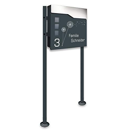 Zalafino Briefkasten incl. Standfuß freistehend in anthrazit - individualisierbarer Design-Briefkasten aus pulverbeschichtetem Stahl mit Zeitungsrolle, Sichtfeldern und Standfuß (Toppy3)